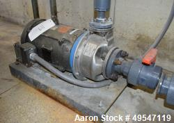 Used- Goulds Centrifugal Pump, Catalog# 10SH2K43D0, Size 1X2-8, Stainless Steel. Driven by a 7.5hp motor. Serial# L1505344.
