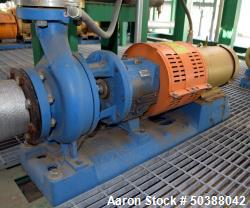Used- Goulds Centrifugal Pump, Model 3196, Size 3X4-8G, 316 Stainless Steel. Rated approximately 63 gallons per minute at 58...