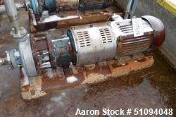 "Used- Goulds Centrifugal Pump, Stainless Steel. Approximate 2"" inlet, 1"" outlet. Driven by a 15hp, 3/60/230/460 volt, 3530 r..."