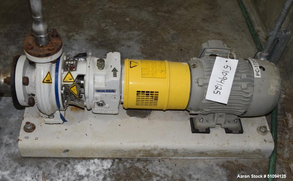 Used-Sulzer CPT Chemical Centrifugal Pump, Model CPT12-1-LF, Stainless Steel. Rated 50 gallons per minute at 85 head at 3525...
