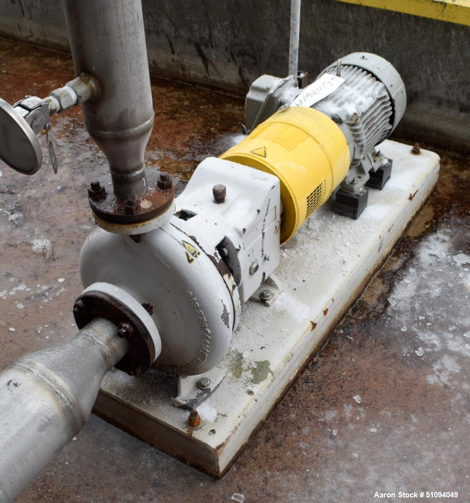 Used- Sulzer CPT Chemical Centrifugal Pump, Model CPT22-2, Stainless Steel. Rated 300 gallons per minute at 55 head at 1770 ...
