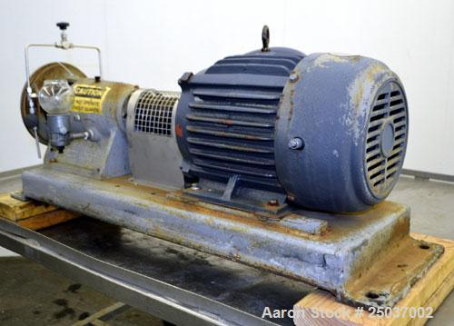 Used- Tri-Clover Centrifugal Pump, Model SP218M-9237-40, 316 Stainless Steel. Unit missing front cover. Driven by a 10 hp, 3...