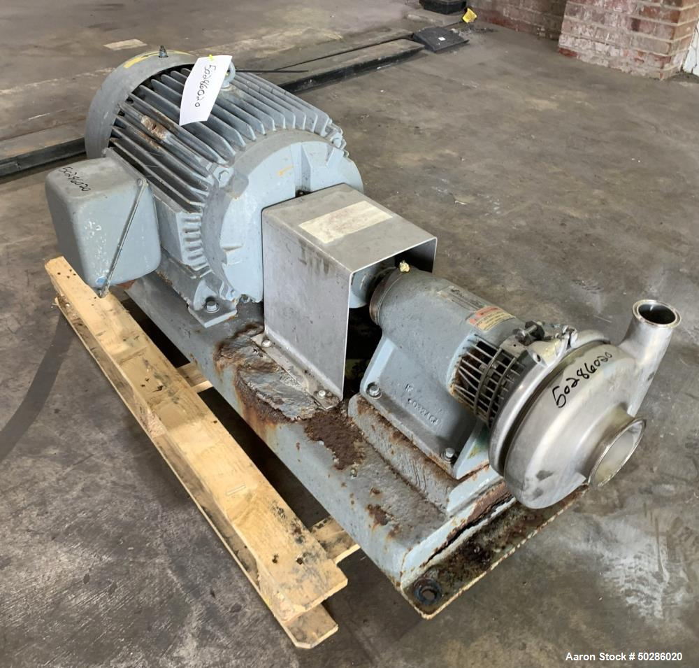 Used- Tri-Clover Tri-Flo Model SP328ME-S Centrifugal Pump, Stainless Steel. Approximate 500 gallons per minute at 260' head....