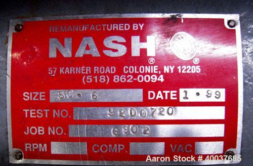 Used- Nash Compressor, Model SC6, test #92D0720, driven by a 50 hp, 3/60/230/460 volt, 1180 rpm motor.