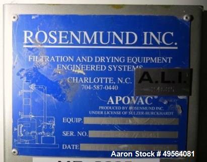 Used- Rosenmund Apovac Vacuum System, Model Horizontal Apovac 2510.