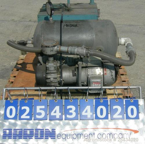Used-Busch Single Stage, Oil Sealed, Rotary Vane Vacuum Pump, Model RC0025-E50G-1101, Carbon Steel.Rated 20 cfm, 15 torr, ai...