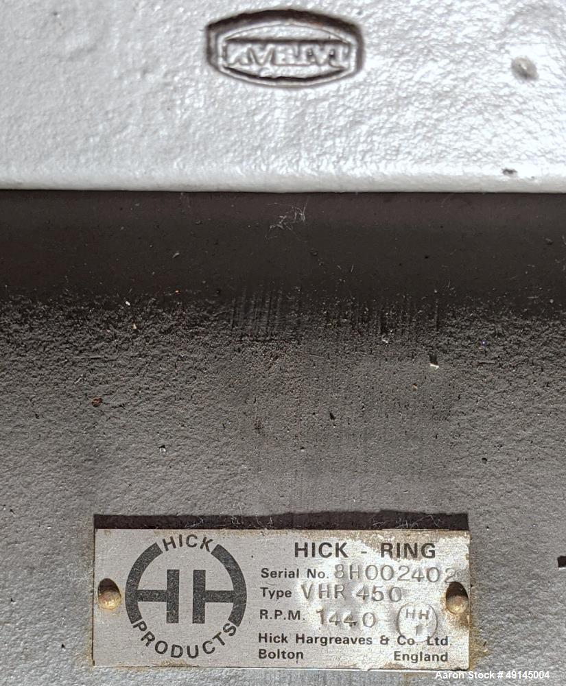 Used- Hick Liquid Ring Vacuum Pump, Type VHR 450