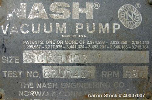 Used- Nash Vacuum Pump, Type CL1003. Approximately 330 cfm at 100 mm hg, carbon steel. Test number 83U0431. 690 rpm. Driven ...