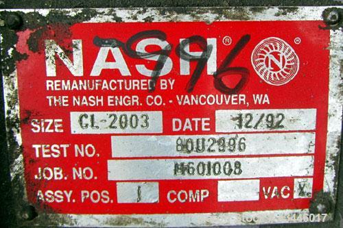 Used- Nash Liquid Ring Vacuum Pump, Model CL2003