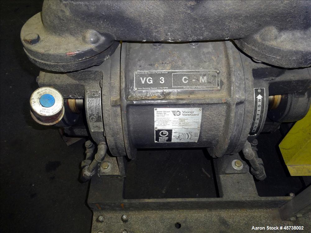 Used- Vooner Vanegard Single Stage Medium Vacuum Pump, Model VG3C-M