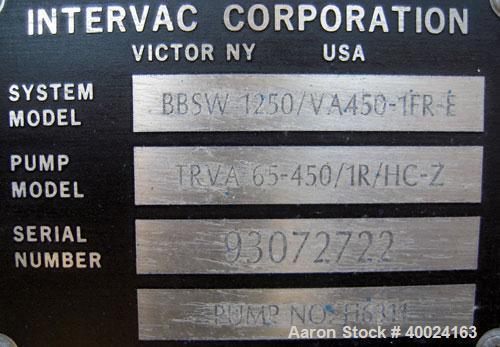 Used- Wintek Intervac Hyvac Booster Liquid Ring Vacuum System, Model BSSW-3500/V450-1FR-E, consisting of: (1) Travaini vacuu...