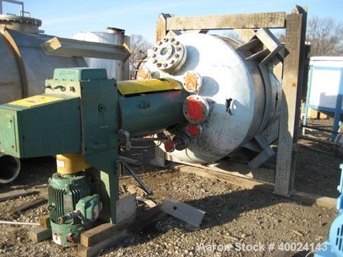 """Used- Roben Reactor, 500 Gallon, Hastelloy C276, Vertical. 48"""" diameter x 57"""" straight side, 2 to 1 elliptical top and botto..."""