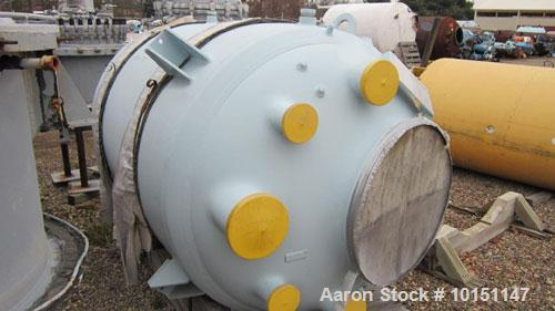 "Used-Reglassed 500 Gallon Glass Lined Reactor Body. Rated 100/fv int @ 450 deg F. Jacket rated 100 @ 450 deg F. Includes 3"" ..."