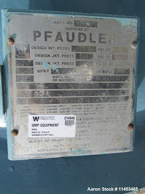 Used-Used 300 gallon Pfaudler glass lined reactor, rated 100 psi and full vacuum at 450 f internal, jacketed for 100 psi at ...