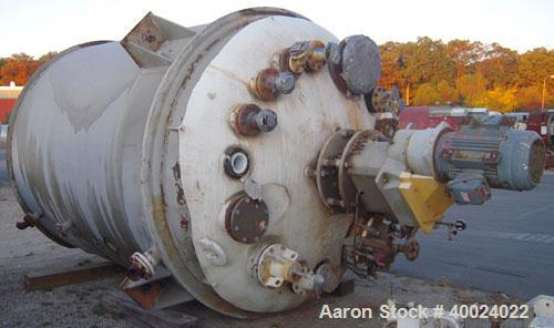 """Used: Dedietrich glass lined reactor, 4000 gallon, 3009 white glass with calibration lines. Approximately 8' diameter x 9'6""""..."""