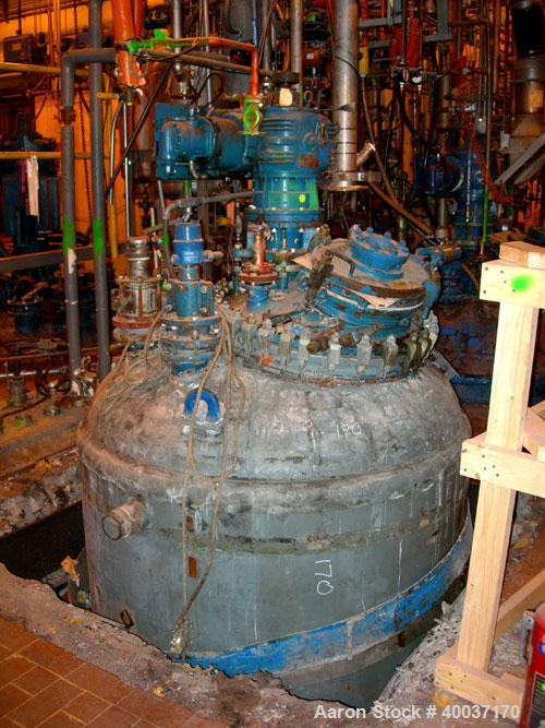 Used-Used: DeDietrich glass lined reactor, 1000 gallon, 3008 blue glass. Approximately 5' diameter x 6' straight side, dish ...