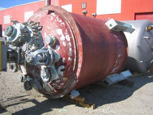 """Used- Dedietrich Glass Lined Reactor, 2000 gallon, 3009 white glass with calibration lines. Approximately 76"""" diameter x 84""""..."""