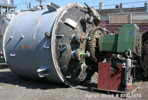 Used- DeDietrich Glass Lined Reactor, 3000 gallon, 3008 blue glass. Approximately 8' diameter x 7' straight side, dish top a...