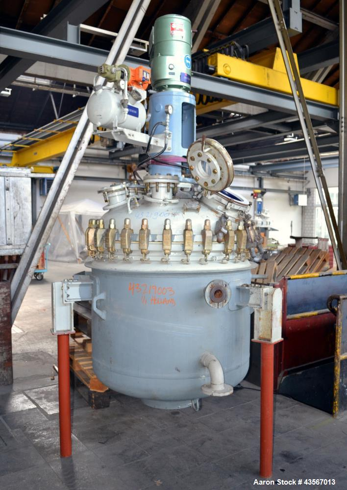 "Used- De Dietrich Glass Lined Reactor, 700 Liter (184.97 Gallon), 3008 Blue Glass, Vertical. Approximately 38"" diameter x 32..."