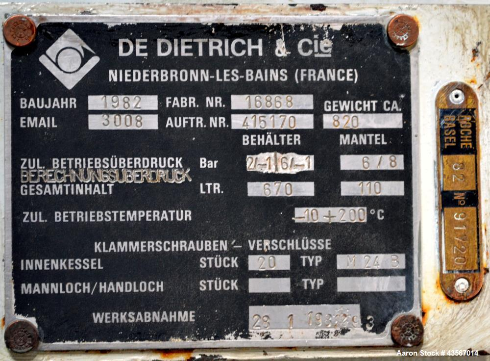 Used- De Dietrich Glass Lined Reactor, 670 Liter (177 Gallon)