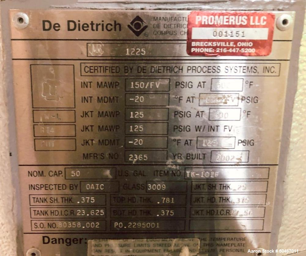 Used- Dedietrich Glass Lined Reactor, 50 Gallon.