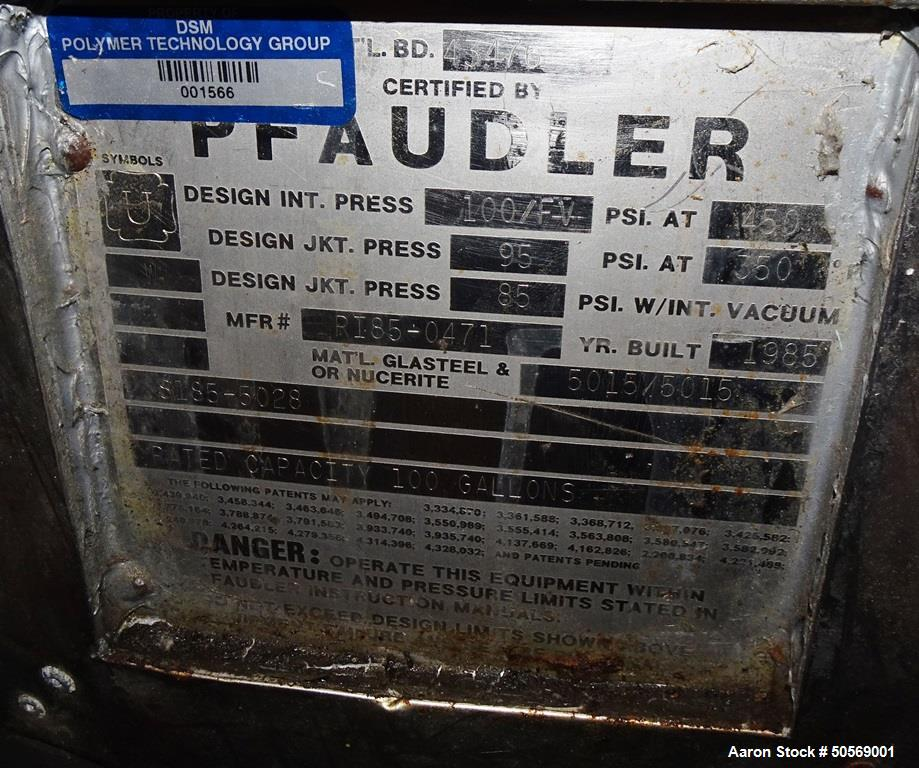 Used- Pfaudler 100 Gallon Glass-Lined Reactor.