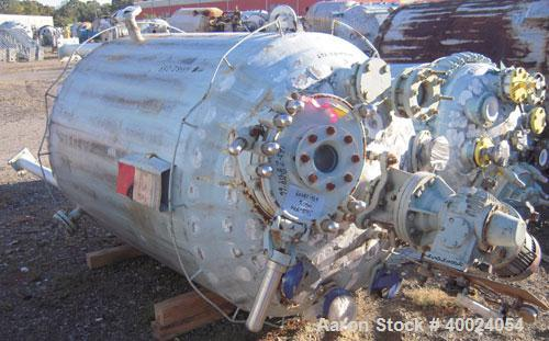 "Used: Pfaudler K series glass lined reactor, 500 gallon, 9129 white glass, model KC-48-500-100.48"" diameter x 58"" straight s..."