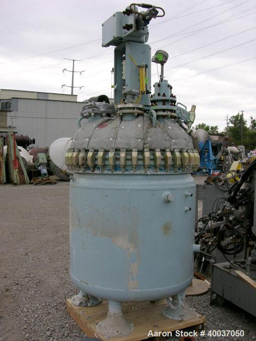 """Used: Pfaudler glass lined clamp top reactor, 200 gallon, model RT40-200-10-100, 9125 white glass. Approximately 40"""" diamete..."""
