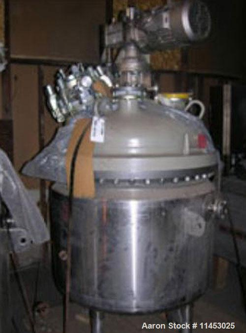 Unused-150 gallon Pfaudler glass lined reactor rated 100 psi and full vacuum @ 450 F internal, jacketed for 90 psi @ 350 deg...