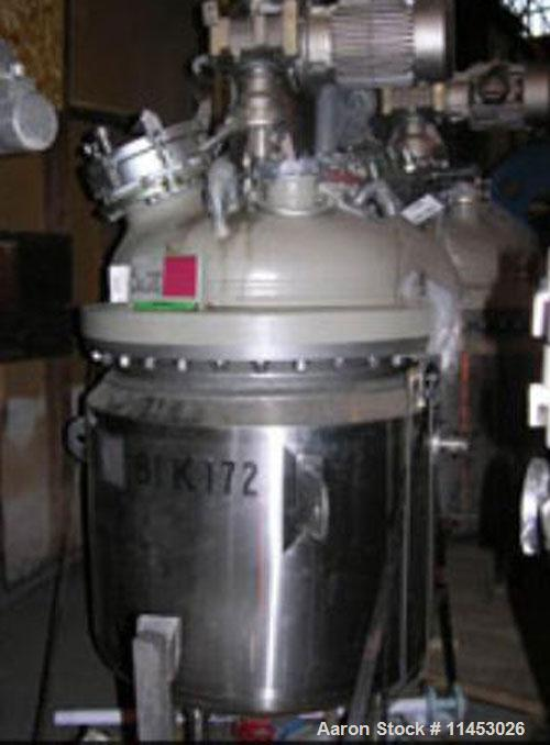 Unused-100 gallon Pfaudler glass lined reactor rated 100 psi and full vacuum @ 450 F internal, jacketed for 100 psi @ 350 de...