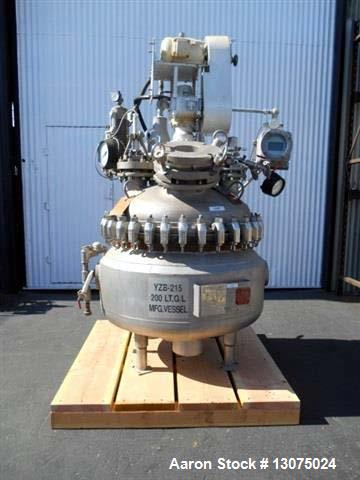 Used- Pfaudler Glass-Lined Reactor. 200 Liter