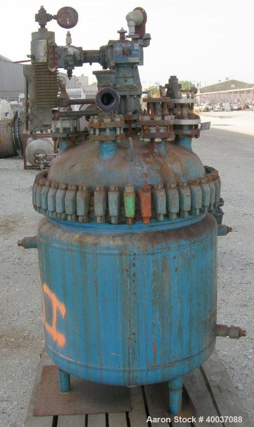 """Used: Pfaudler glass lined clamp top reactor, 100 gallon, 3315 glass. Approximately 28"""" diameter x 30"""" straight side. Clamp ..."""