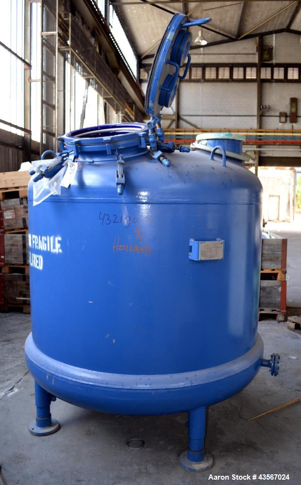 """Used- Tycon Glass Lined Reactor, 2834 Liter (748.88 Gallon), Blue Glass, Vertical. Approximately 62"""" diameter x 48"""" straight..."""