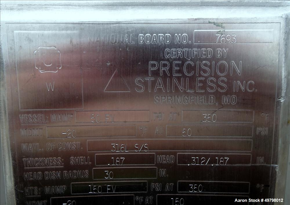 Used- Precision Stainless Reactor, 400 Liter (105 Gallon), 316L Stainless Steel