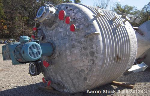 """Used: Four Corp Reactor, 2500 gallon, 316L stainless steel, vertical. 96"""" diameter x 68"""" straight side, dished top, elliptic..."""