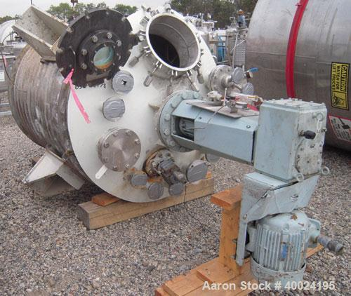Used- Reactor, 500 gallon, stainless steel, vertical. Approximately 4' diameter x 5' straight side, dished top and bottom. 1...