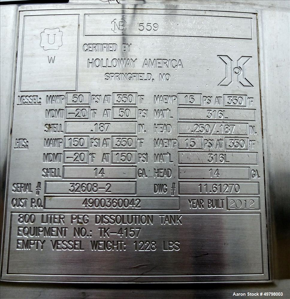 Used- Holloway Reactor, 800 Liter (211 Gallon), 316L Stainless Steel, Vertical.