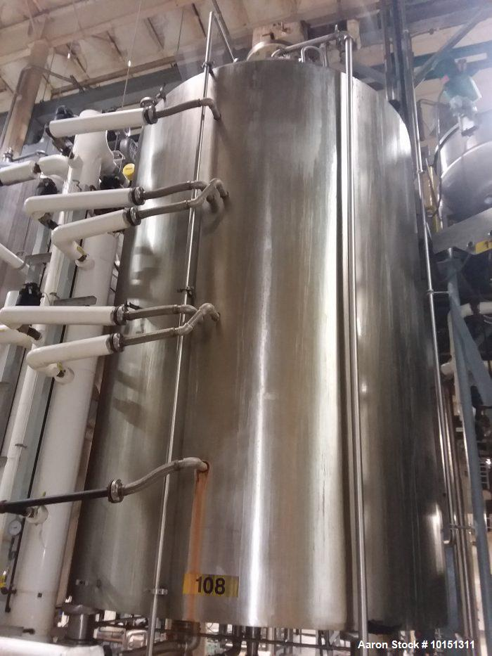 Used- Lee Stainless Steel Vertical Reactor, 5,000 Gallon.