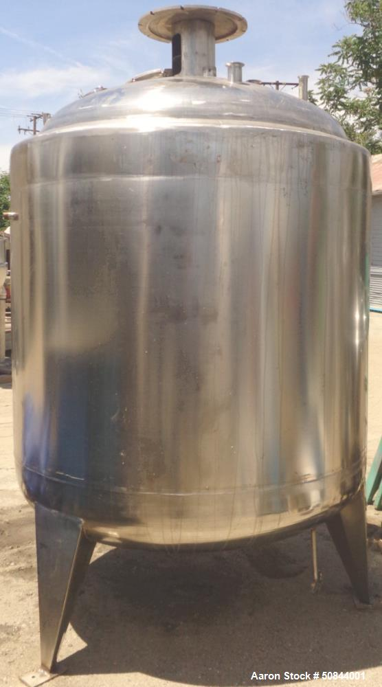 Used - Stainless steel jacketed and agitated tank, approximately 625 gallon,