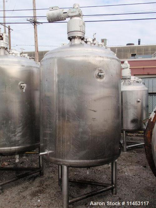 "Used-1500 Liter (396 Gallon) Cherry Burrell Reactor. 316 stainless steel construction, 45"" diameter x 48"" straight side, dis..."