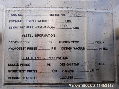 """Used-1750 Liter (462 Gallon) Cherry Burrell Reactor, 316 stainless steel construction. 48"""" diameter x 48"""" straight side, dis..."""