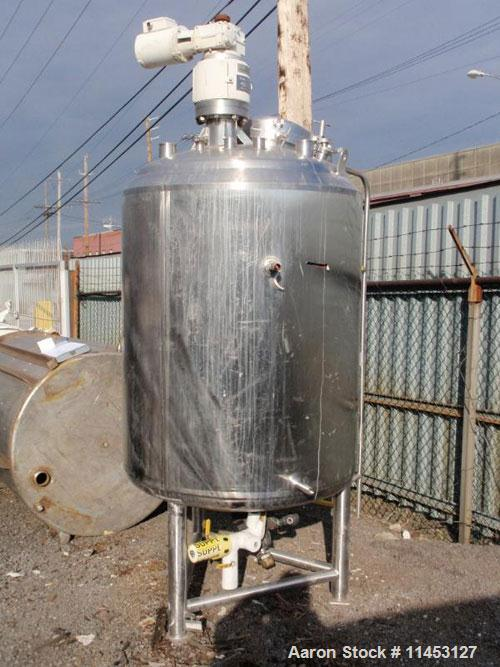 """Used-1250 Liter (330 Gallon) Cherry Burrell Reactor. 316 stainless steel construction, 42"""" diameter x 48"""" straight side, dis..."""