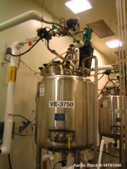Used-Approximately 125 Gallon (500 liter) working volume Feldmeier agitated, jacketed, sanitary stainless steel reactor with...
