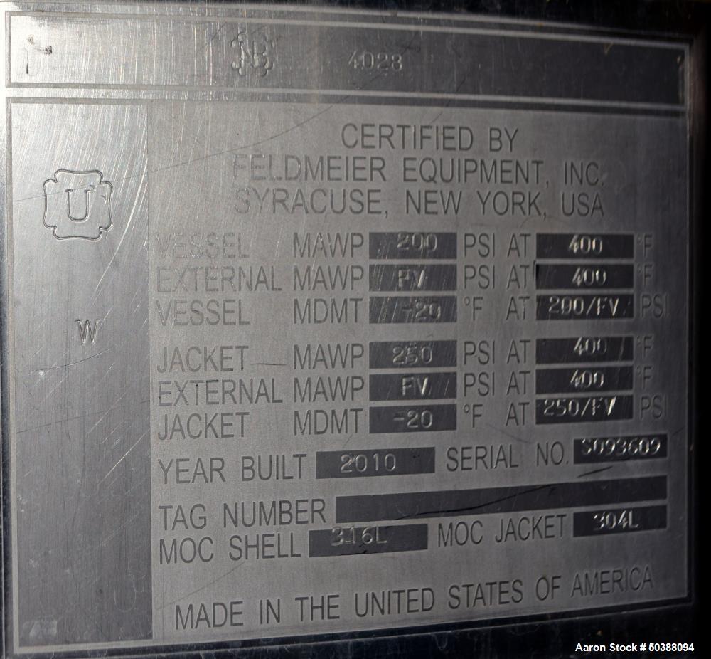 Used- Feldmeier Reactor, 250 Liter (66 Gallons), 316L Stainless Steel, Vertical.