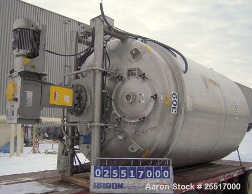 """UNUSED-  Lee 3000 Gallon Reactor. Type 316L stainless steel construction. Built in 2001. 90"""" I.D. x 117"""" straight side. Weld..."""