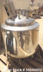 Used- Stainless steel jacketed and agitated tank, approximately 75 gallon,