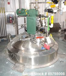 "Used- DCI Reactor, 5,000 Liter (1,320 Gallon), 316L Stainless Steel, Vertical. 66"" Diameter x 84"" straight side, dished top ..."
