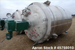 "Used- DCI Reactor, 10,000 Liter (2,641 Gallon), 316L Stainless Steel, Vertical. 84"" Diameter x 108"" straight side, dished to..."