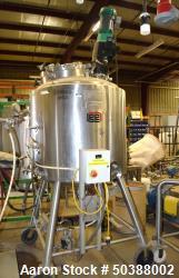 "Used-  Lee Industries Reactor, 158 Gallon, Model 600 LU, 316L Stainless Steel, Vertical. 32"" Diameter x 39"" straight side, d..."