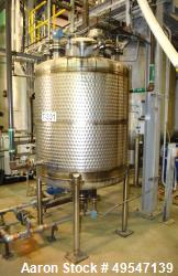 "Used- Mueller Reactor, 400 Gallon, 304 Stainless Steel, Vertical. 48"" Diameter x 47"" straight side, dished top and bottom. I..."